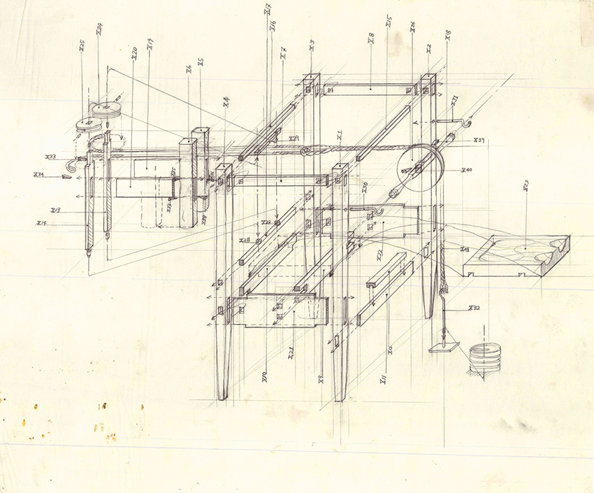Beauty of Our Pain: The Duke's Cabinet   (technical drawing),  1995 graphite on tracing paper 35.5 x 42.2 cm