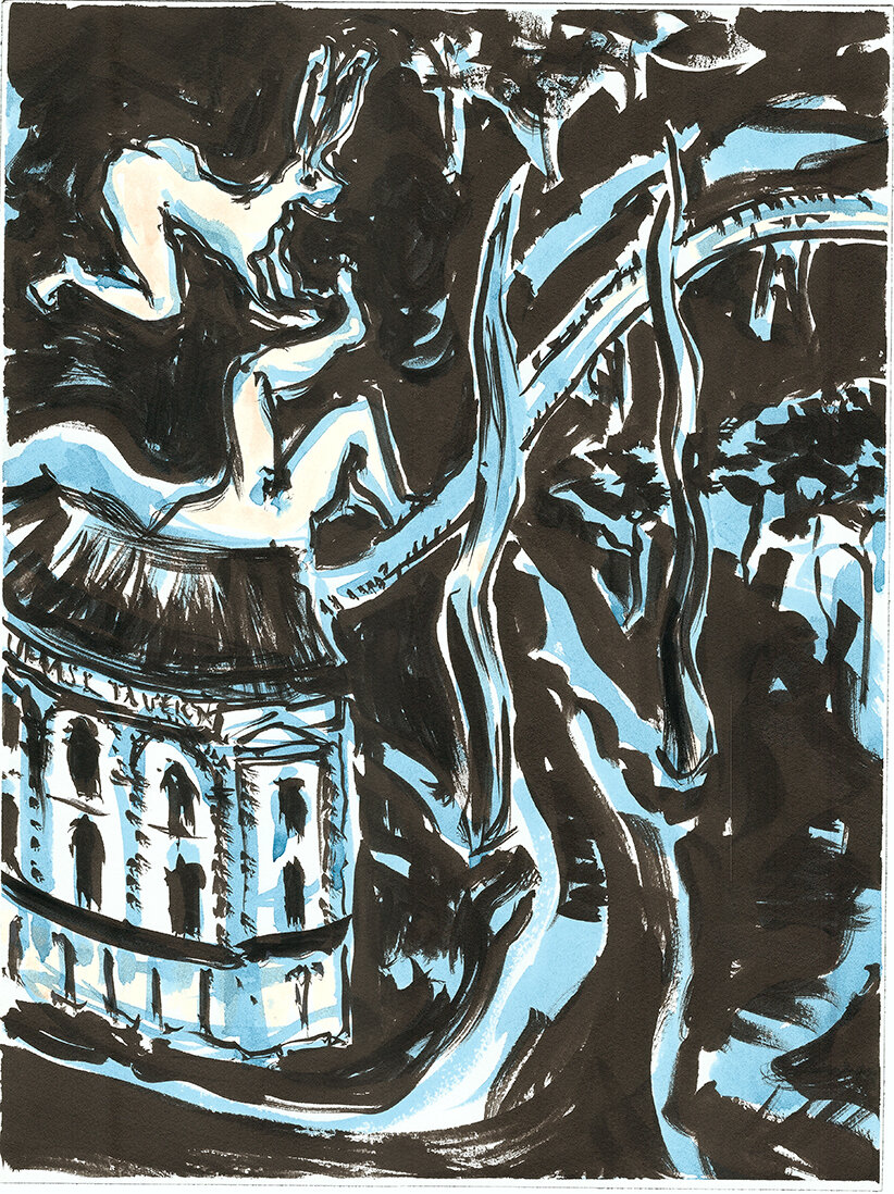 Vauxhall Tavern and steel obelisks , 2019 Indian ink and watercolour on paper 40.5 x 30.5 cm