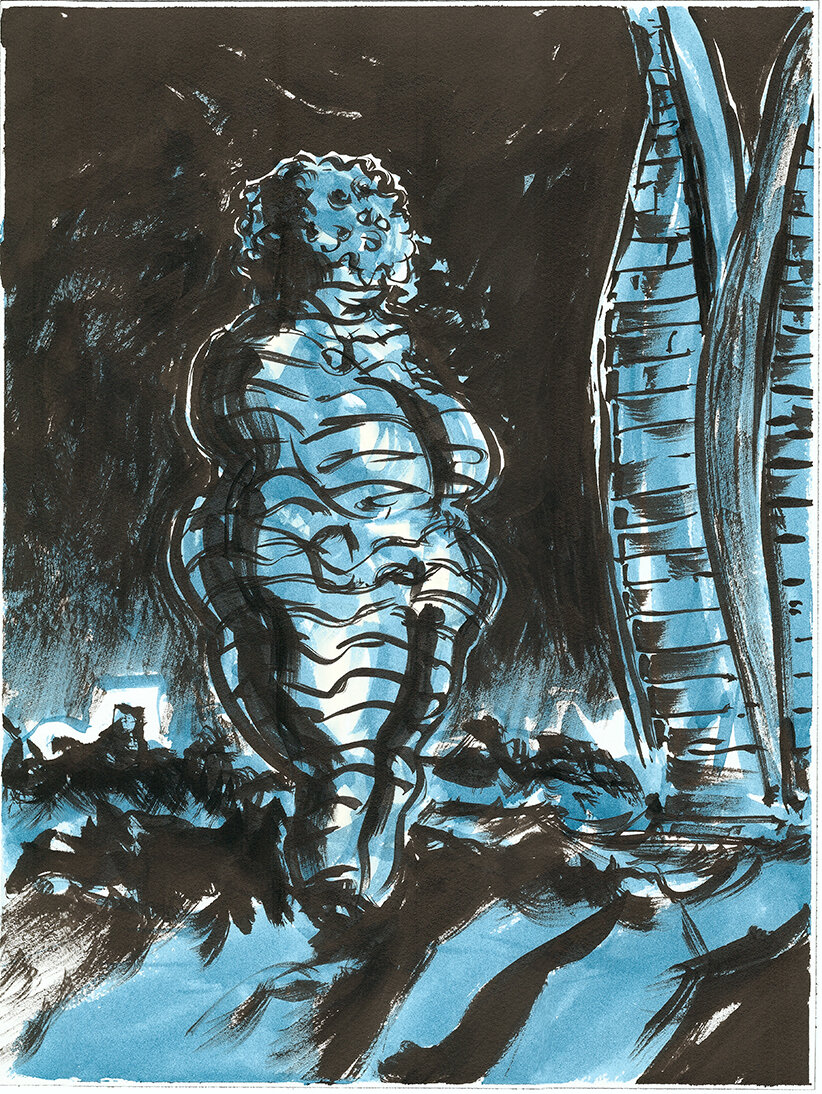 Willendorf Hotel and Canoe Heights , 2019 Indian ink and watercolour on paper 40.5 x 30.5 cm