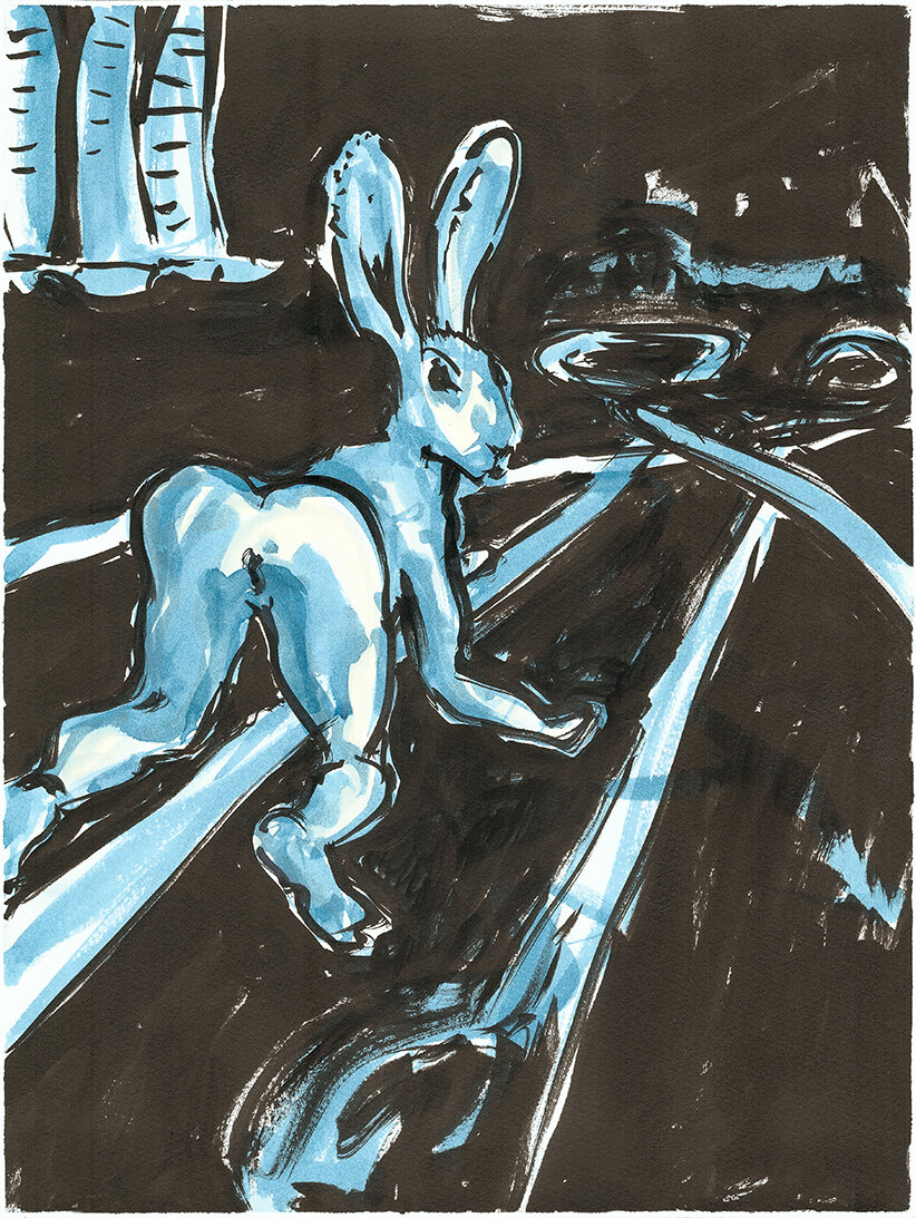 Hare Today cocktail lounge , 2019 Indian ink and watercolour on paper 40.5 x 30.5 cm