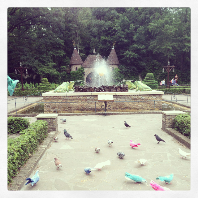 Colored doves in theme park de Efteling in the Netherlands. You instantly feel you're in a different world, a dreamworld perhaps :)