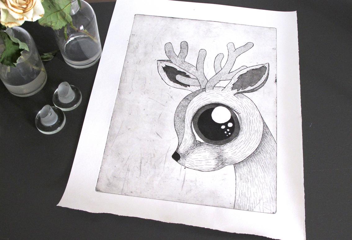 An etching of a Dear Deer.