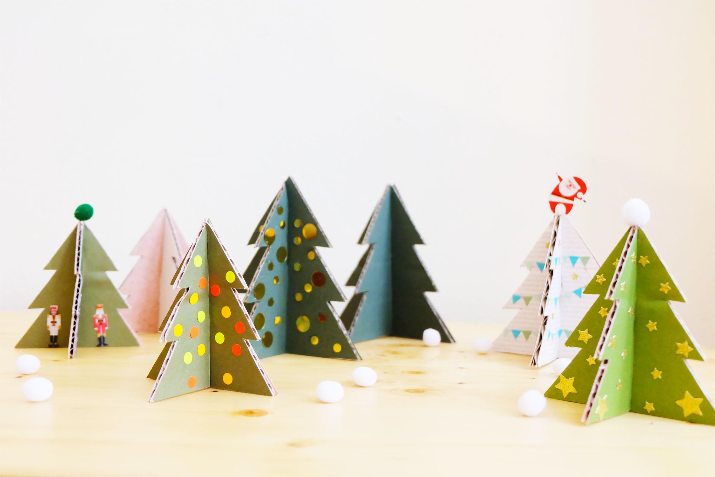DIY kerstbomen op een rij
