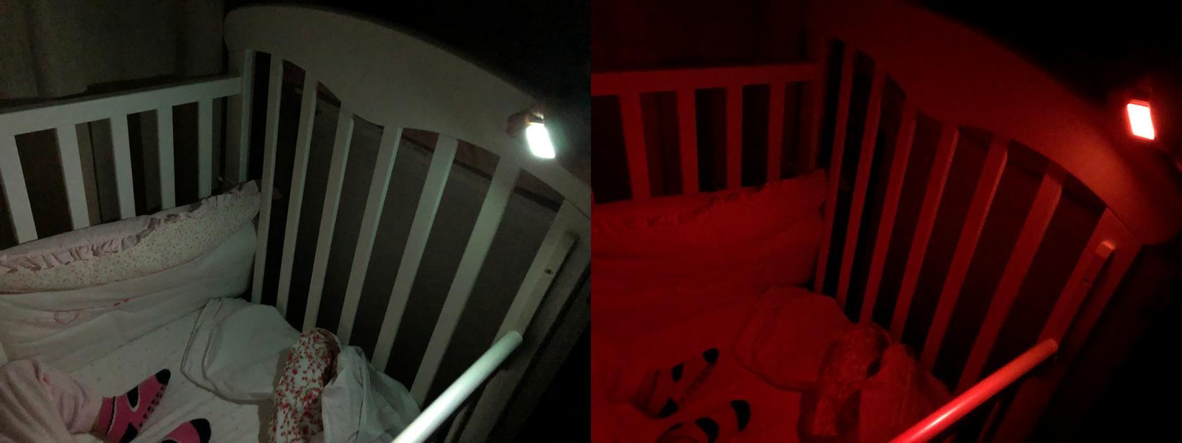 Luz da lanterna do Apple Watch no tom branco (esquerda) e vermelho (direita)