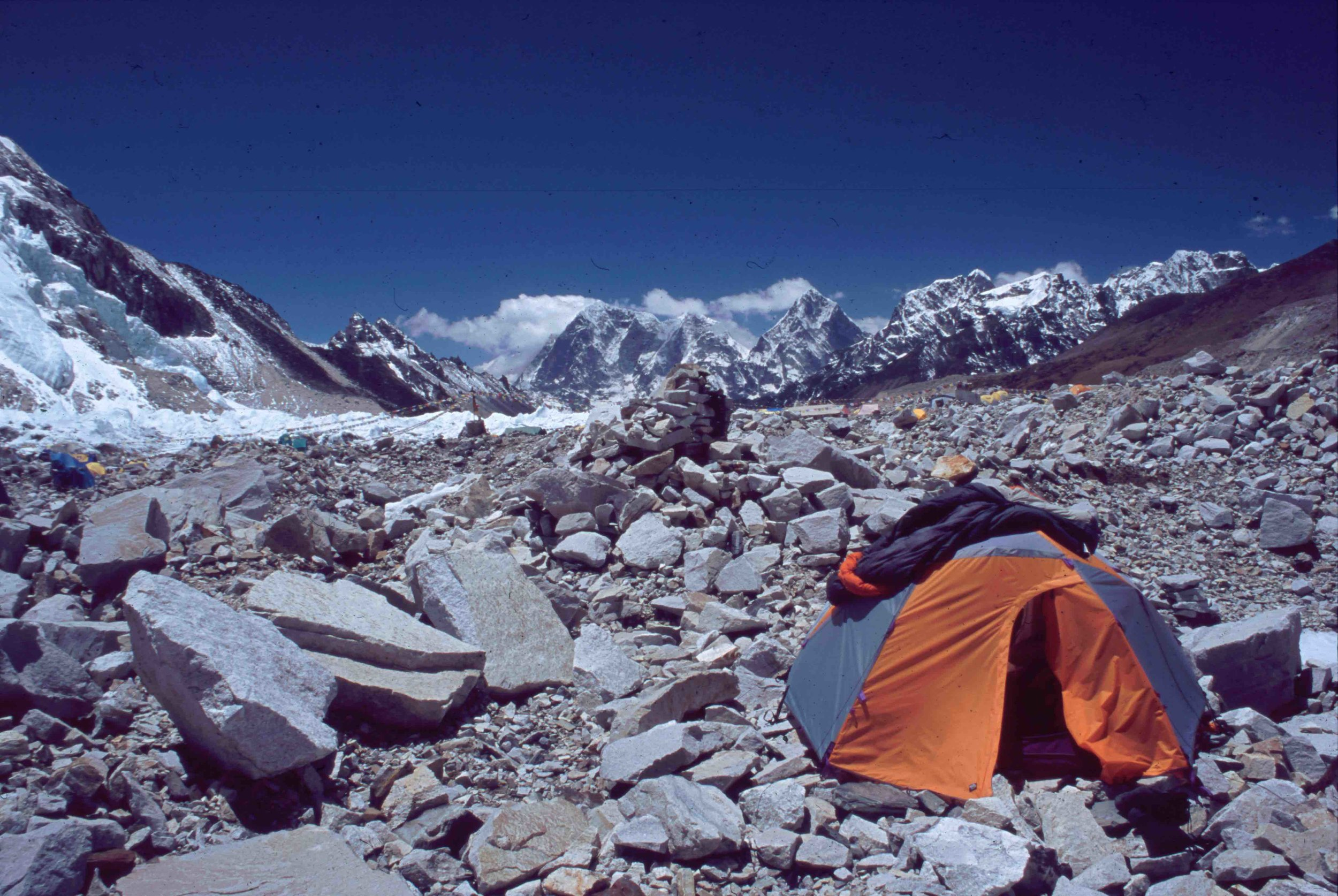 One of my tent sites, Everest base camp, Nepal, 2004.