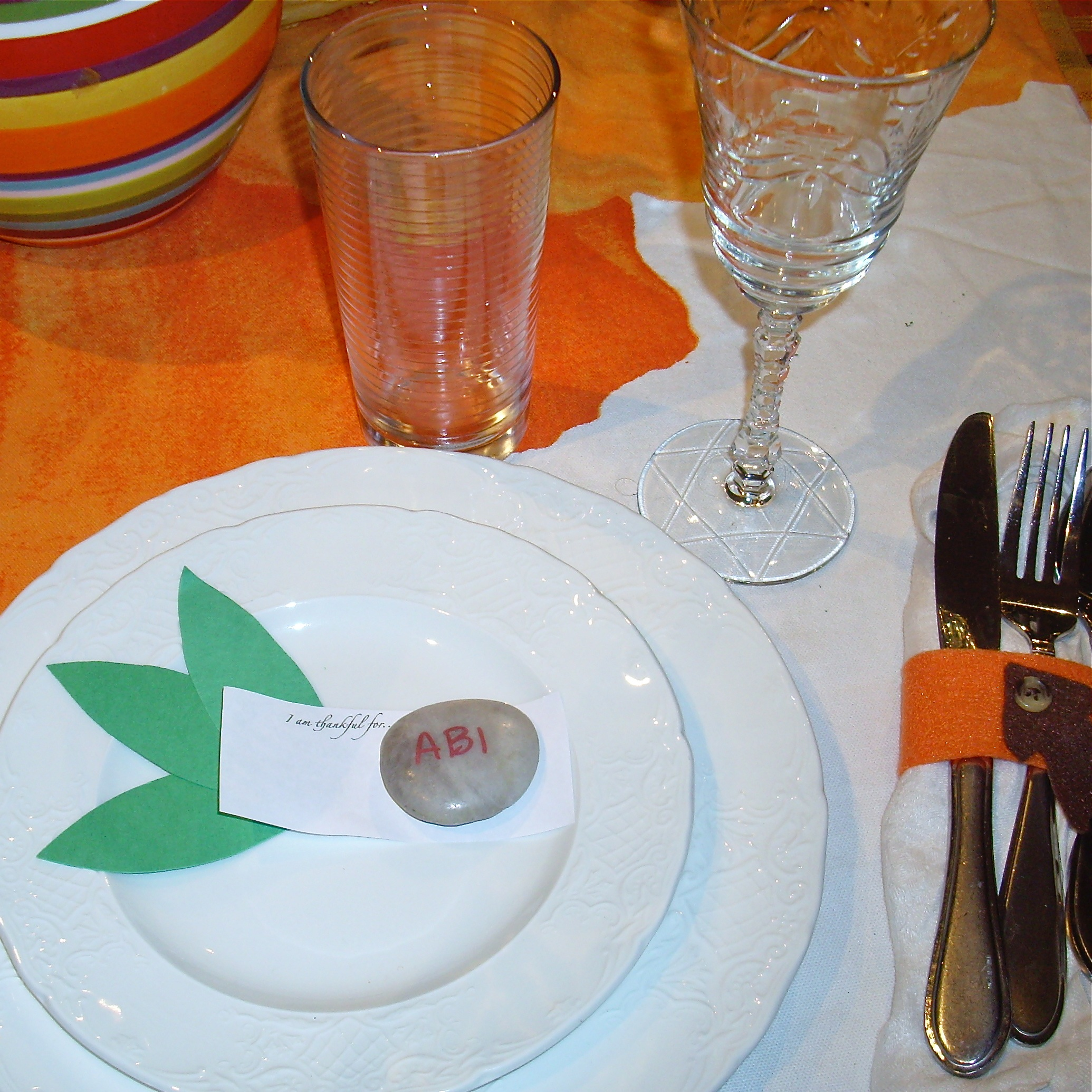 """A place setting from a few years ago: each person had some """"I am thankful for..."""" cards at their place."""
