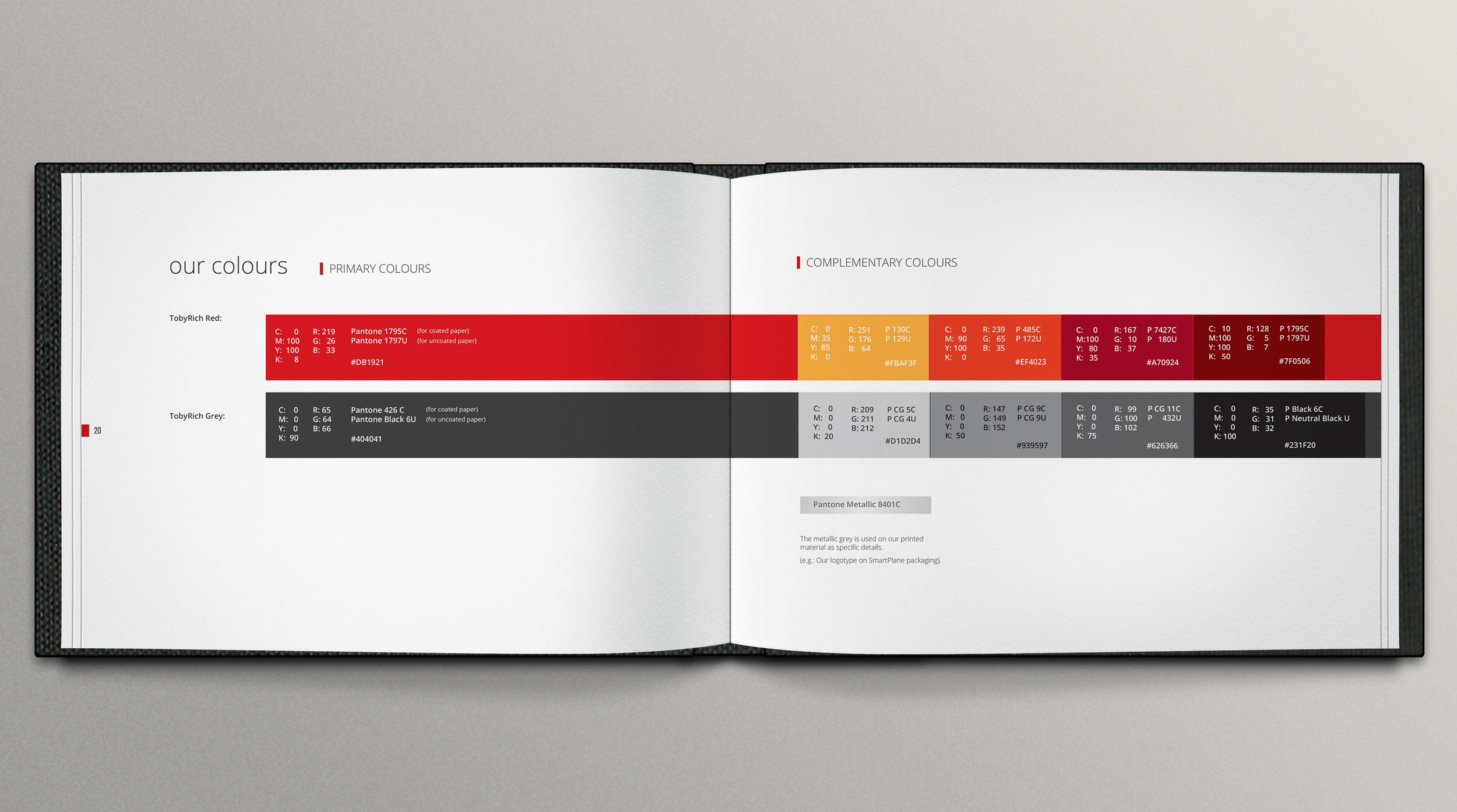 visual identity designed for TobyRich. Full guideline  displayed here