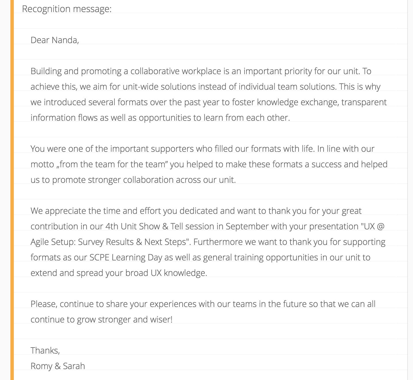 Internal SAP – Appreciate Tool (2017)