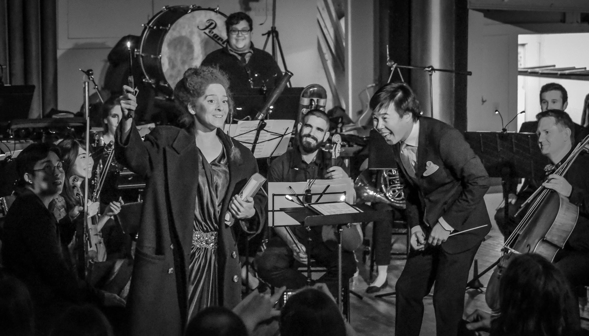 All smiles with soprano Melissa Wimbish and Occasional Symphony before Ligeti's Mysteries of the Macabre (2017)