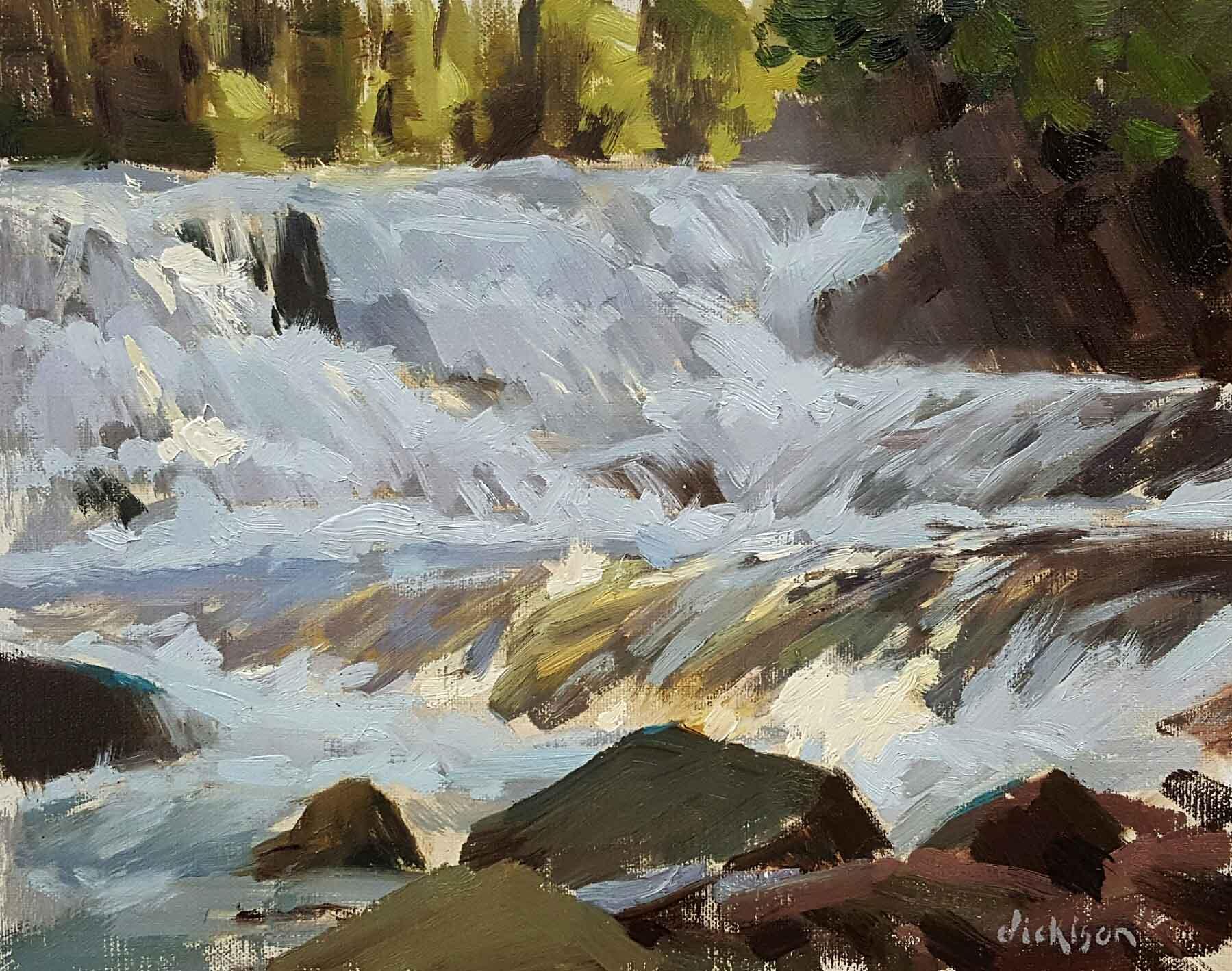 "Forrest Dickison ""McDonald Falls"" 8 x 10 (framed)  $700"
