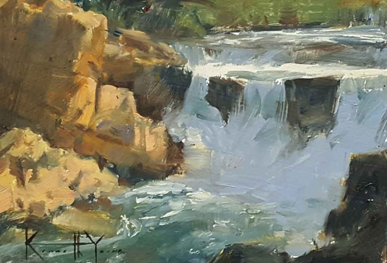 "Ken Yarus ""Glacier Falls Study"" (unframed) 5 x 7 $200"