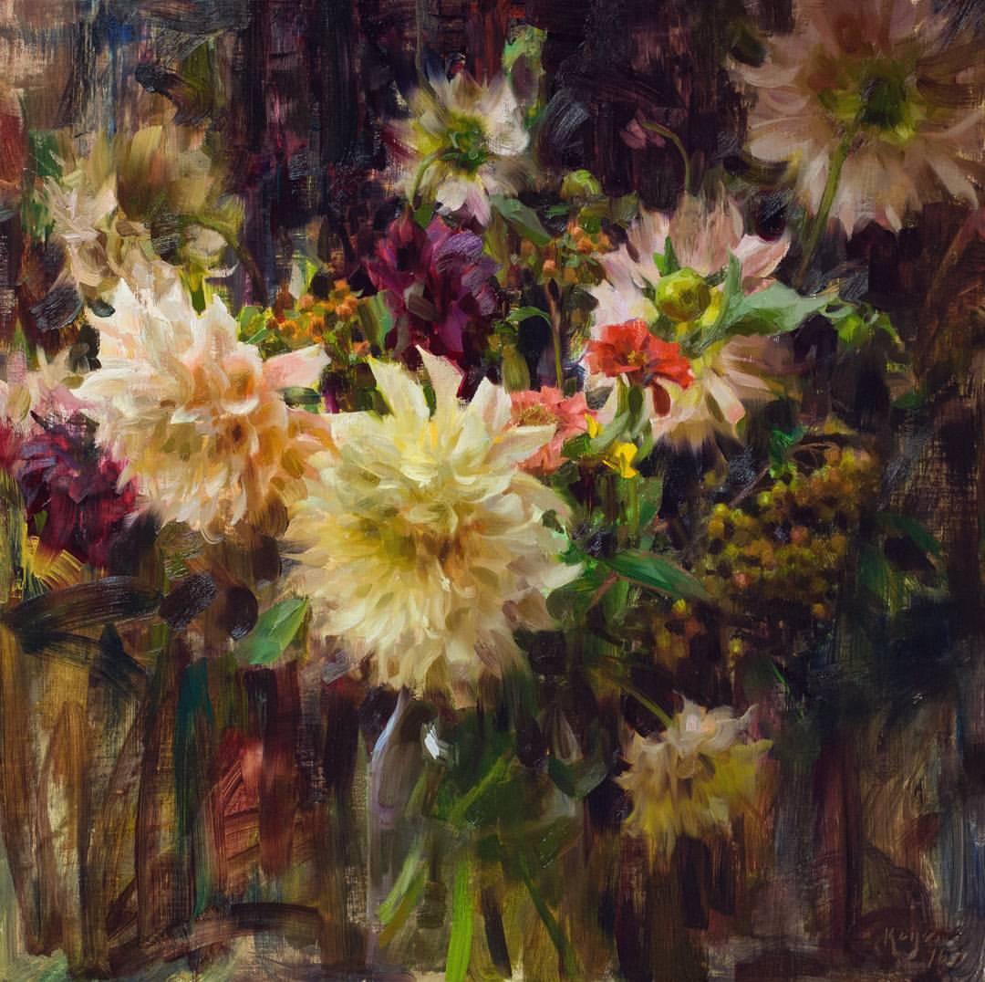 "Daniel Keys ""Dahlias, Zinnias, and Berries"" (framed) 25 x 25 $9000"