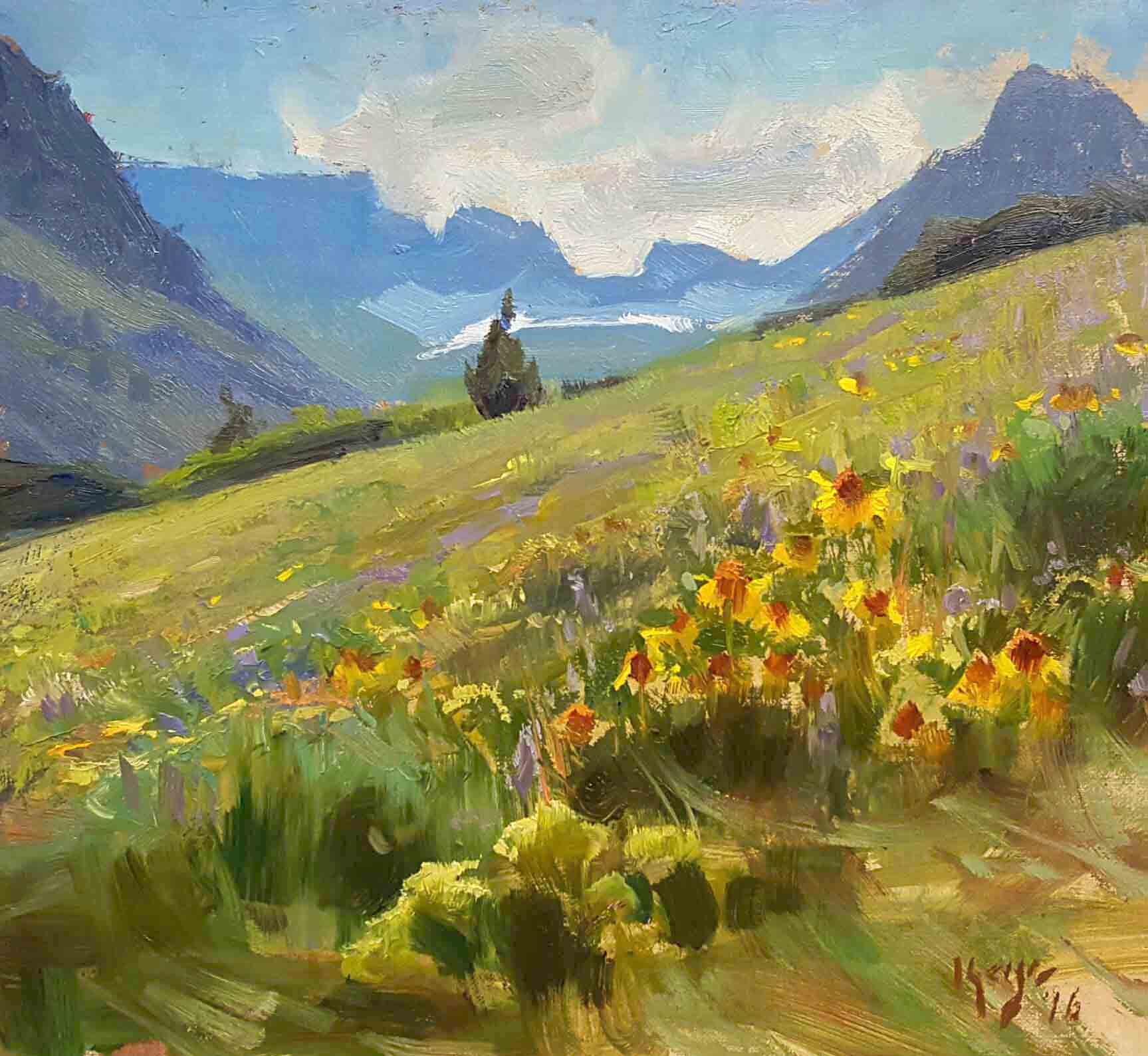 """Daniel Keys """"Wildflowers"""" 9.25 x 10 unframed $1000"""