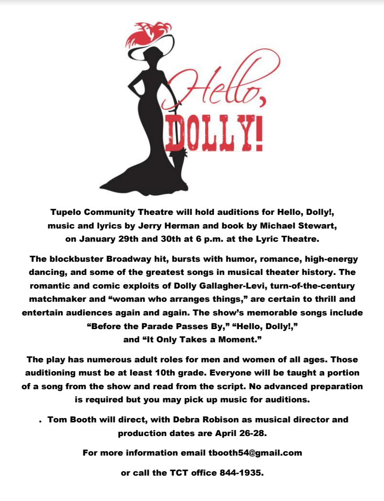 Hello Dolly Auditions Downtown Tupelo.png