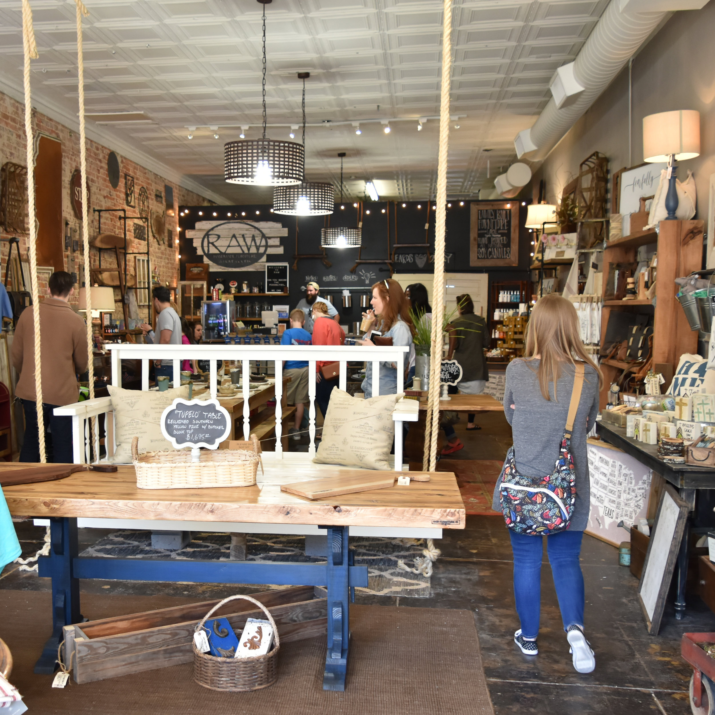 RAW FURNITURE    Beautifully hand-crafted Furniture made right here in Tupelo, RAW makes all kinds of one of a kind wooden wares. They can also do custom furniture if you have something specific in mind