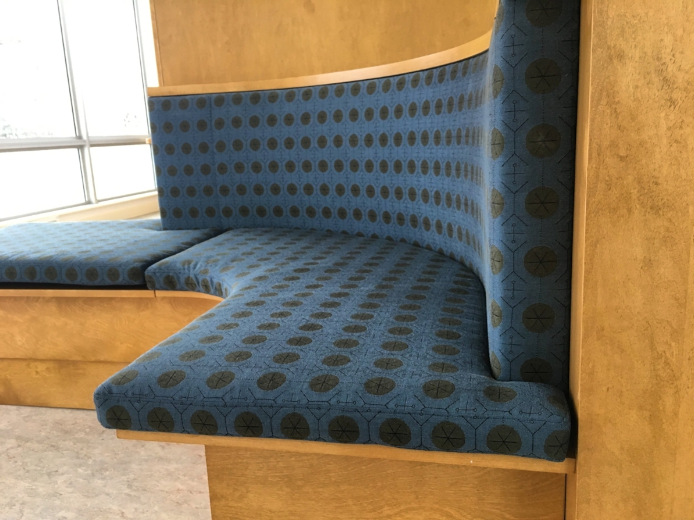 A fabric designed in 1950 and still in production today, this textile was client's choice for curved banquette designed by  Christopher Strom Architects , and built by  Regency Custom Cabinetry