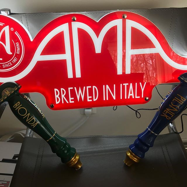 New signs in production! Tap Handles available now and ready to pour some @birra_ama as soon as you are! #craftbeer #craftyimports #beer