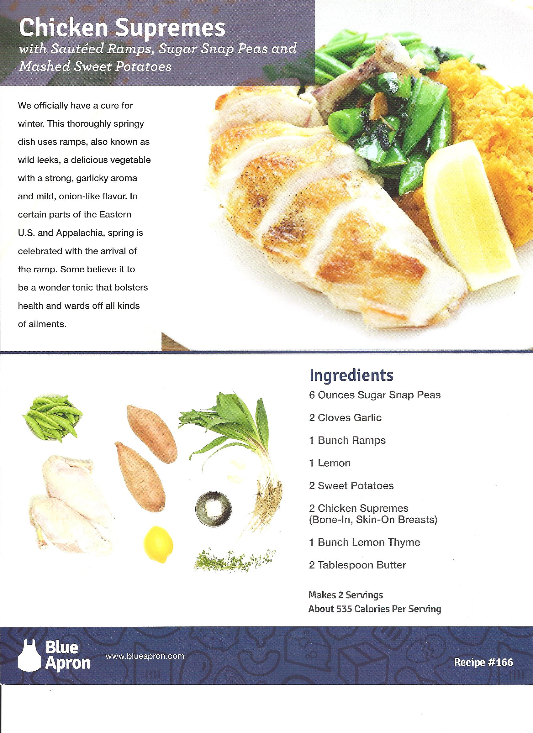Here are the ingredients and background on the meal from Blue Apron.