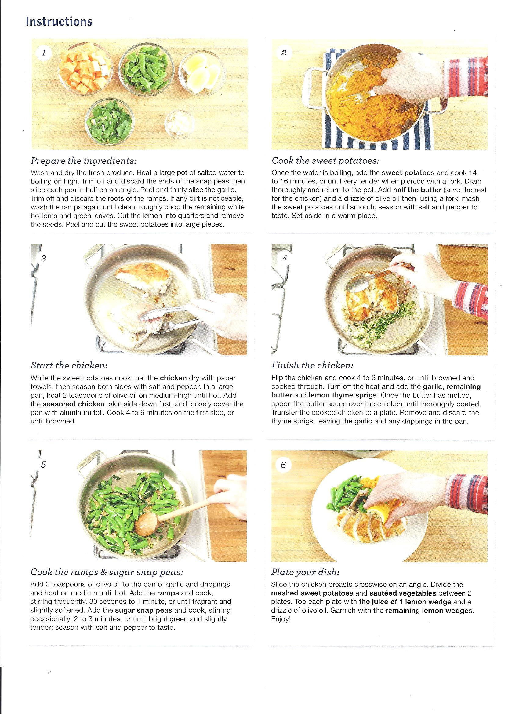 Nice set of instructions come with each Blue Apron meal!