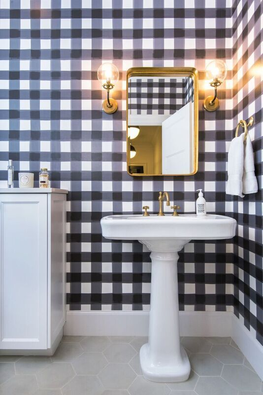 Devine buffalo wall paper - Target - If you have a small powder room or entry closet, this could be there perfect place to express your buffalo print obsession. I love the gold against the plaid.