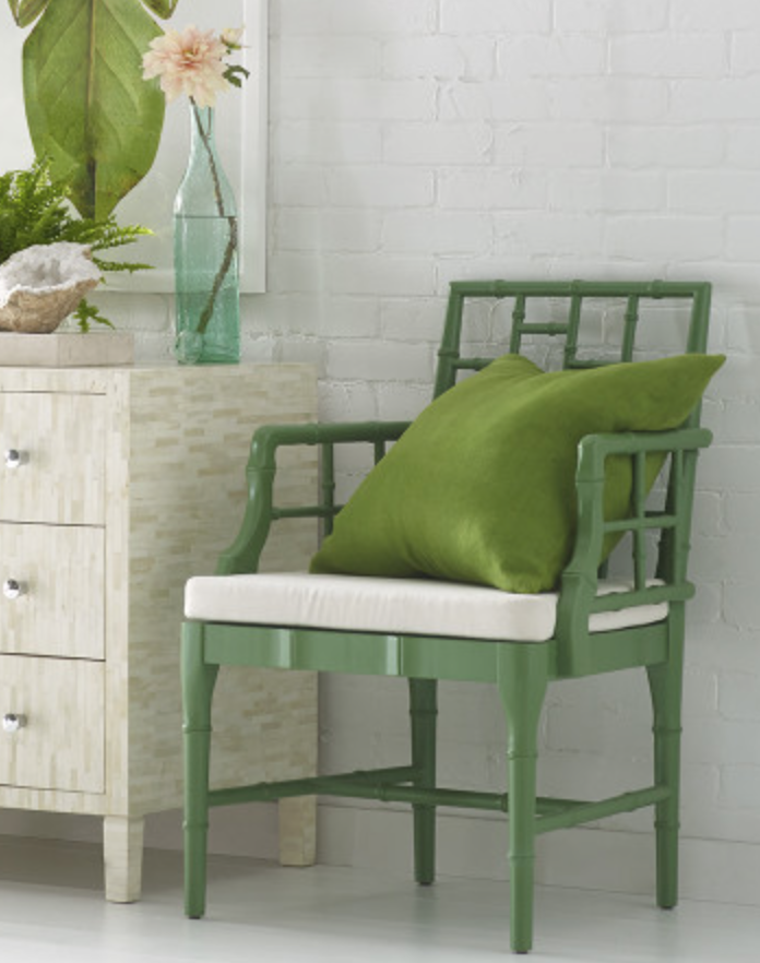 Chippendale - Wisteria - These chairs are super cute, they have a soft green color with traditional chinese chippendale style.