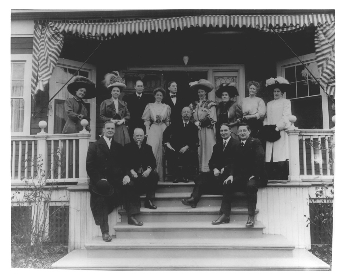 The Governor Chamberlain (center) on the front porch.
