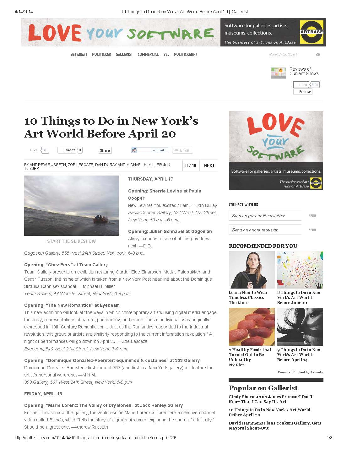 Gallerist (New York Observer), 04/04/14 10 things to do in New York