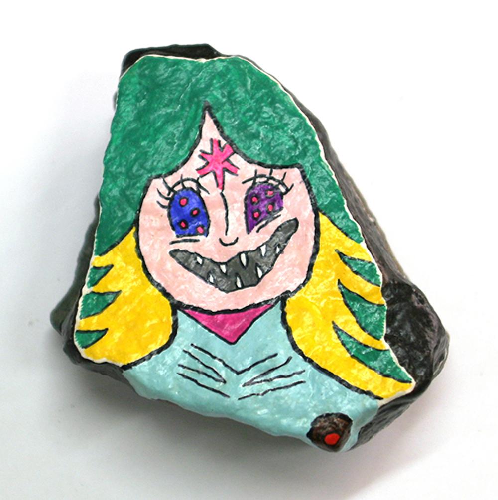 """Tai Ogawa Hampen (2008) Acrylic on stone 3.25"""" x 3"""" x 2"""""""