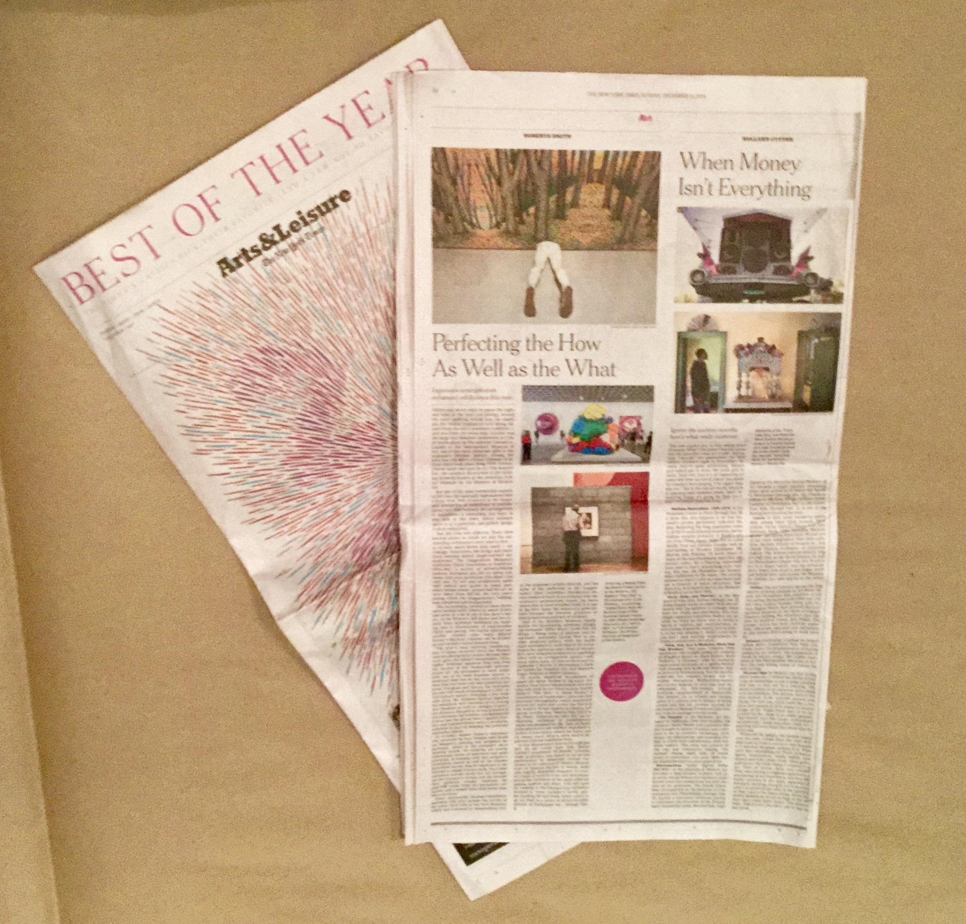 """Smith, Roberta.  """"Best Art Shows of 2014"""" . December 14, 2014.  New York Times . On Rainer Ganahl's """"El Mundo"""" (Inaugural exhibition at Kai Matsumiya, April-May 2014)"""