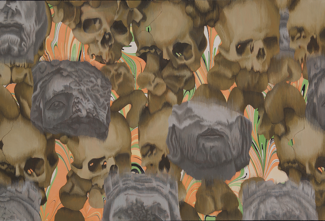 Crowd of Crowds 2 (Decapitated Kings, Skulls) 2014 Gouache on Paper 15 x 21.5 inches