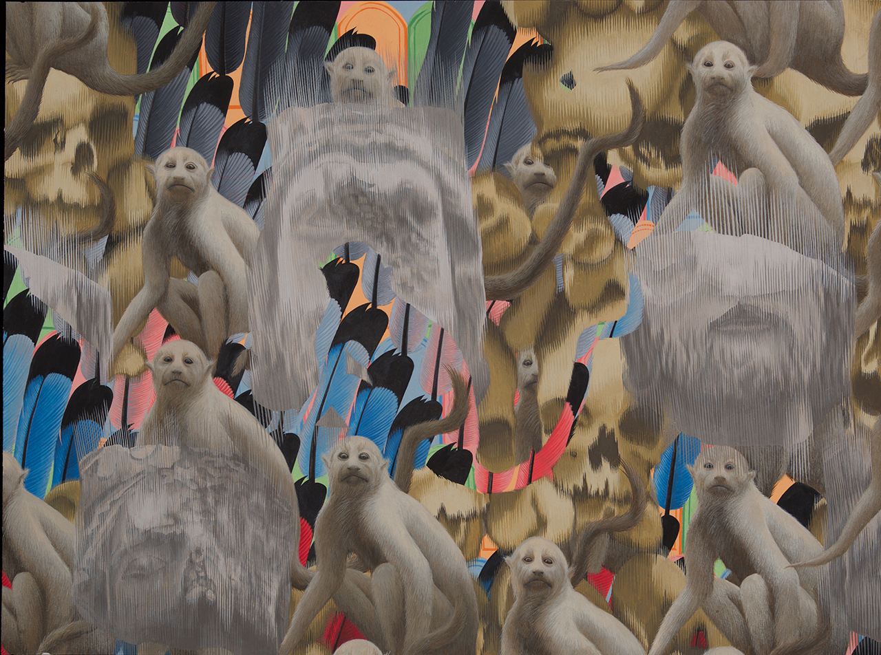 Crowd of Crowds 3 (Decapitated Kings, Monkeys, Skulls, Feathers, Graves) 2015 Gouache on Paper 16.5 x 21.5 inches