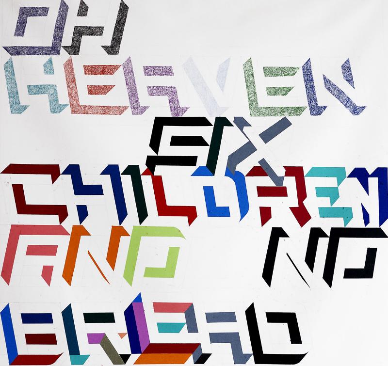 "Siggi Hofer ""Oh Heaven... Six Children and No Bread"" 59"" x 55"" Oil Pastel on Canvas"