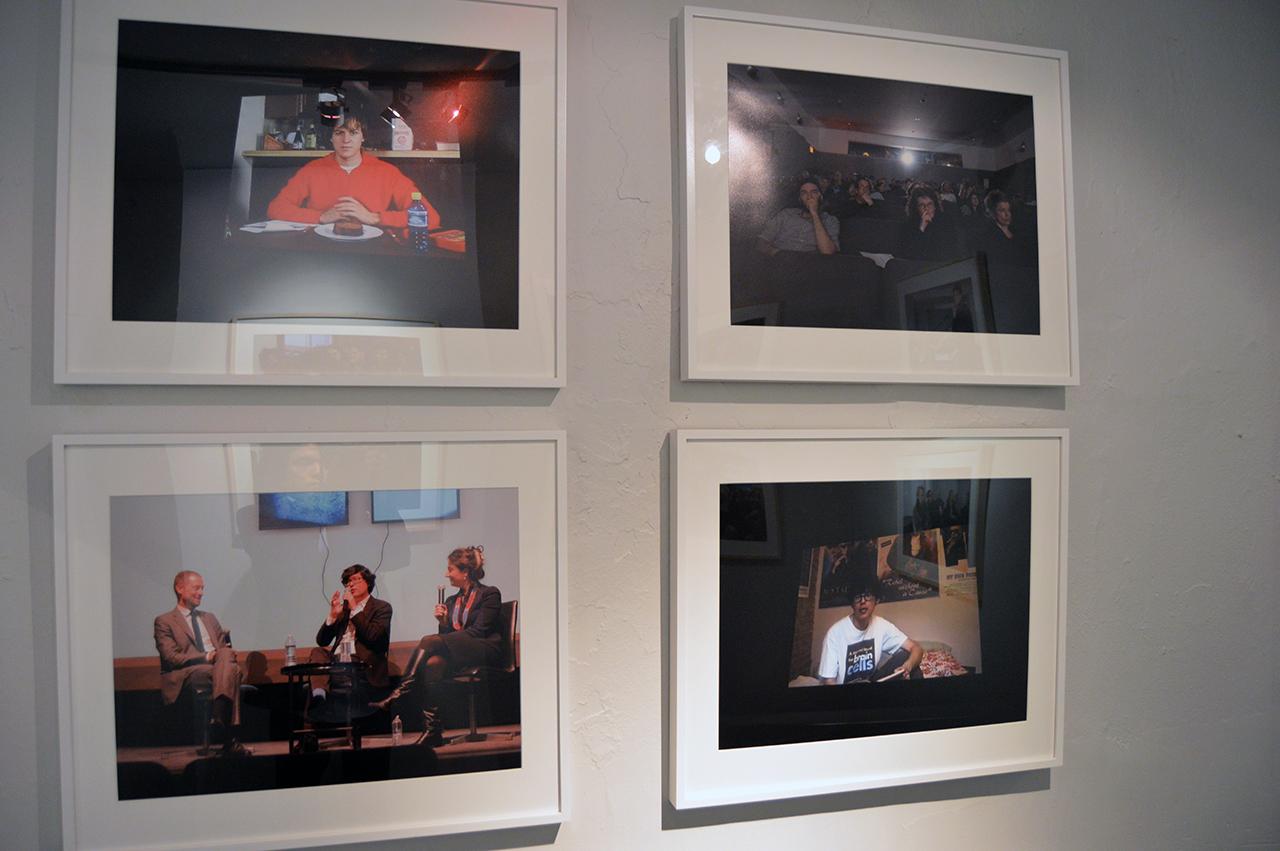 "Rainer Ganahl; S/L, Ken Okiishi, Emmelyn Butterfield-Rosen, Stuart Comer, Modern Mondays: An Evening with Ken Okiishi, MoMA, New Yoek 12/1/2014; 4 photographs, 20"" x 24"", Edition of 4;2015"