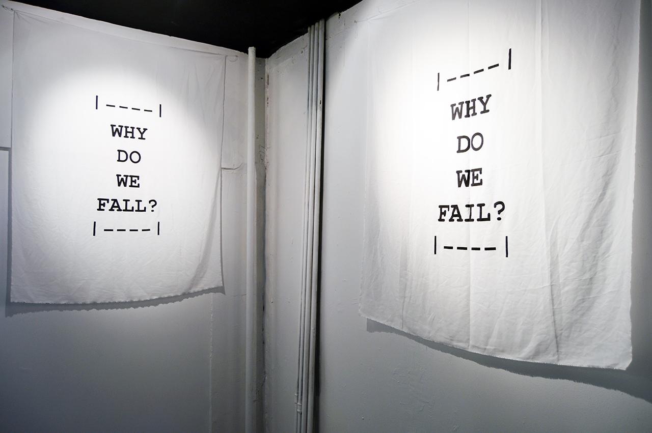 "Rainer Ganahl   WHY DO WE   FALL? WHY DO WE FAIL?    43"" x 59""    Silkscreen on silk    Edition of 3"