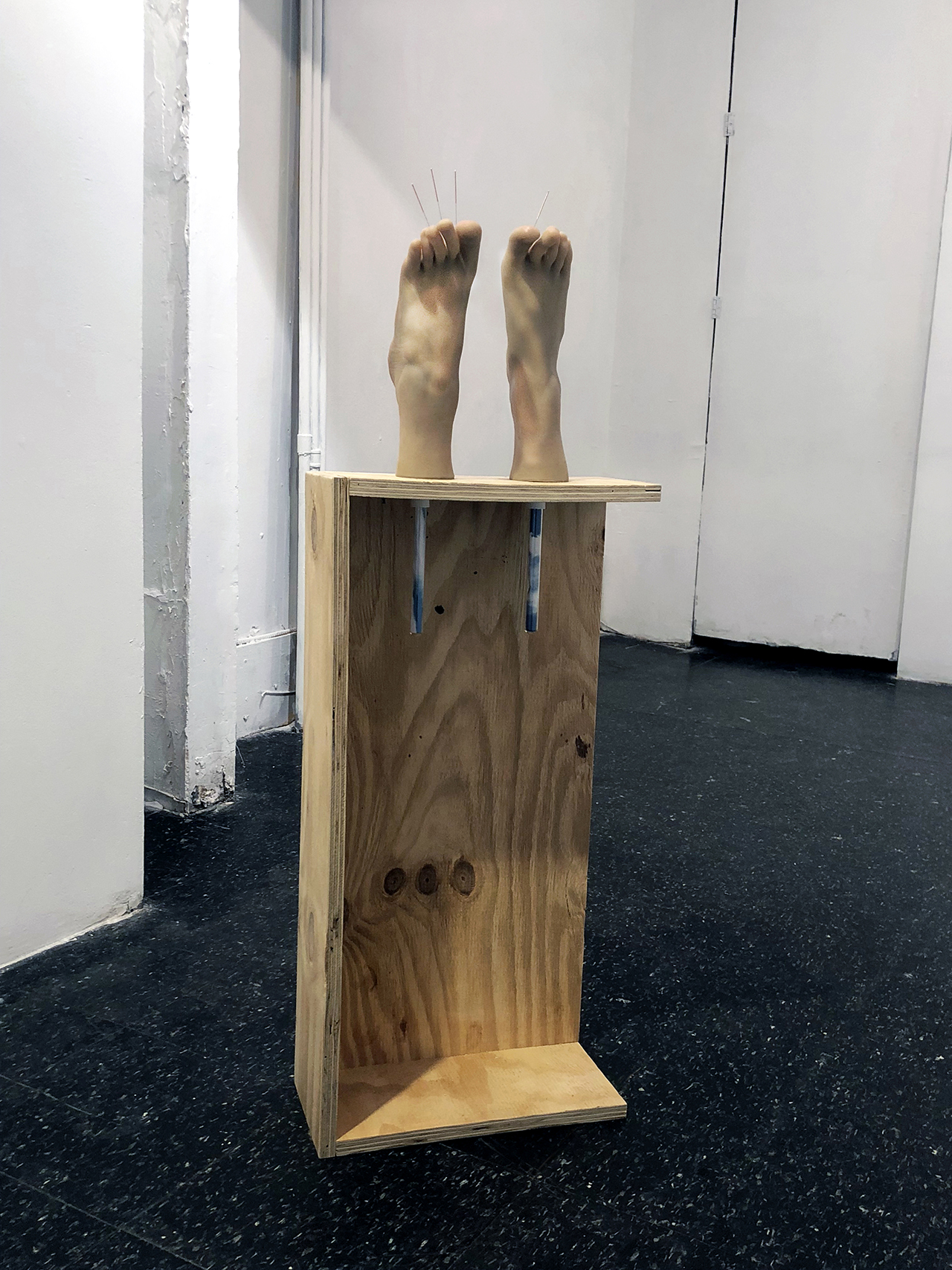 "Copy of Maryam Jafri. Anxiety (2017). 12.5""x 6.75"" x 40.5"". wood, silicone feet, acupuncture needles, test tubes, paper"