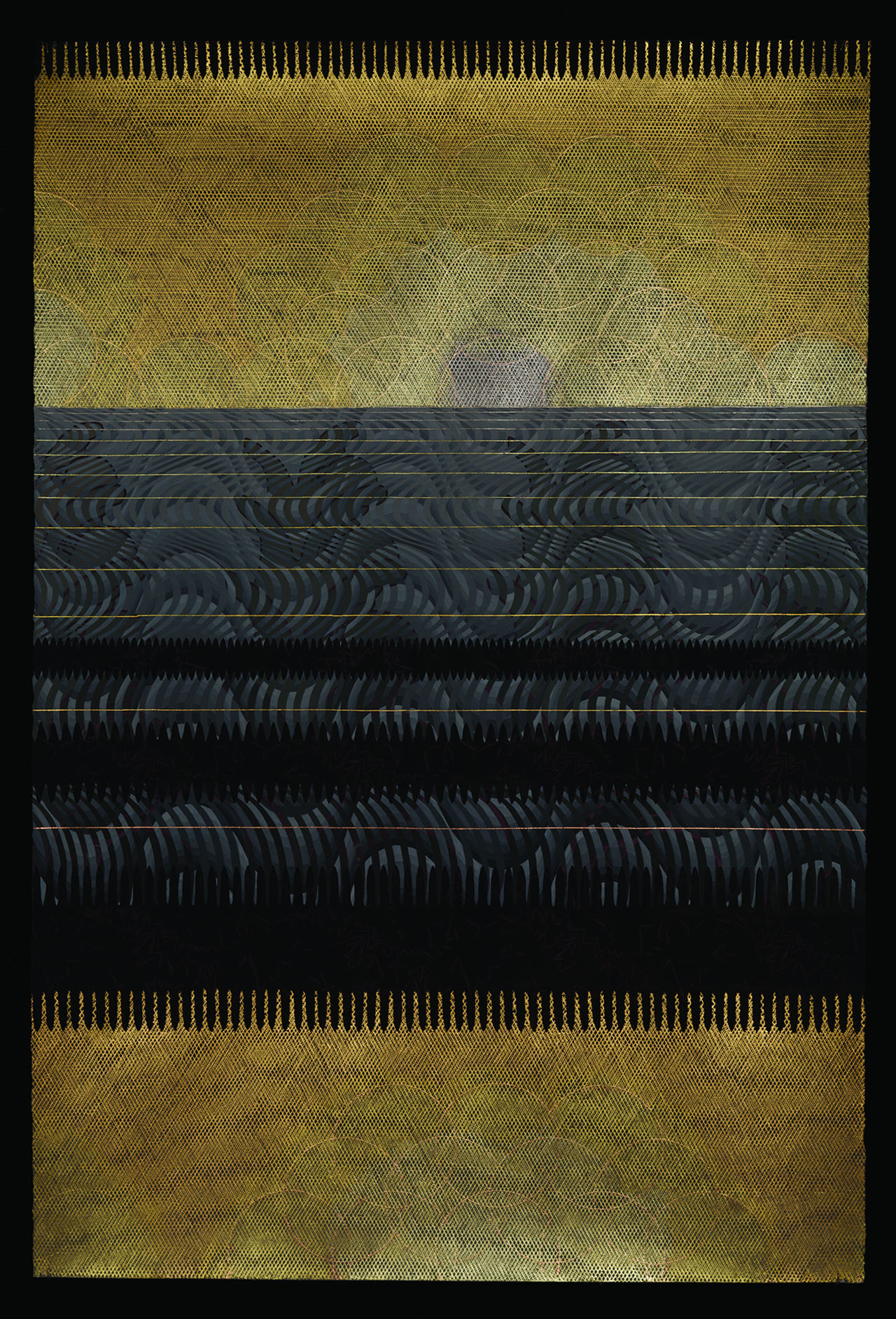 Zoe Pettijohn Schade/ Ocean Moire/ 2009/ Gouache with Gold, Palladium and Copper Leaf on Paper/ 60 x 40 inches