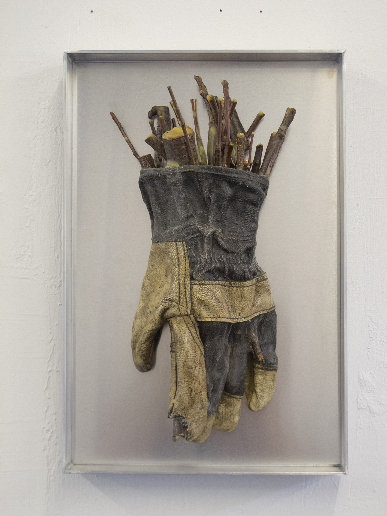 Pedro Wirz  Rat King  Old letter glove, beeswax, twigs  36 cm x 24 cm x 11 cm ( 14 in x 9.5 in x 4.3 in )  2018