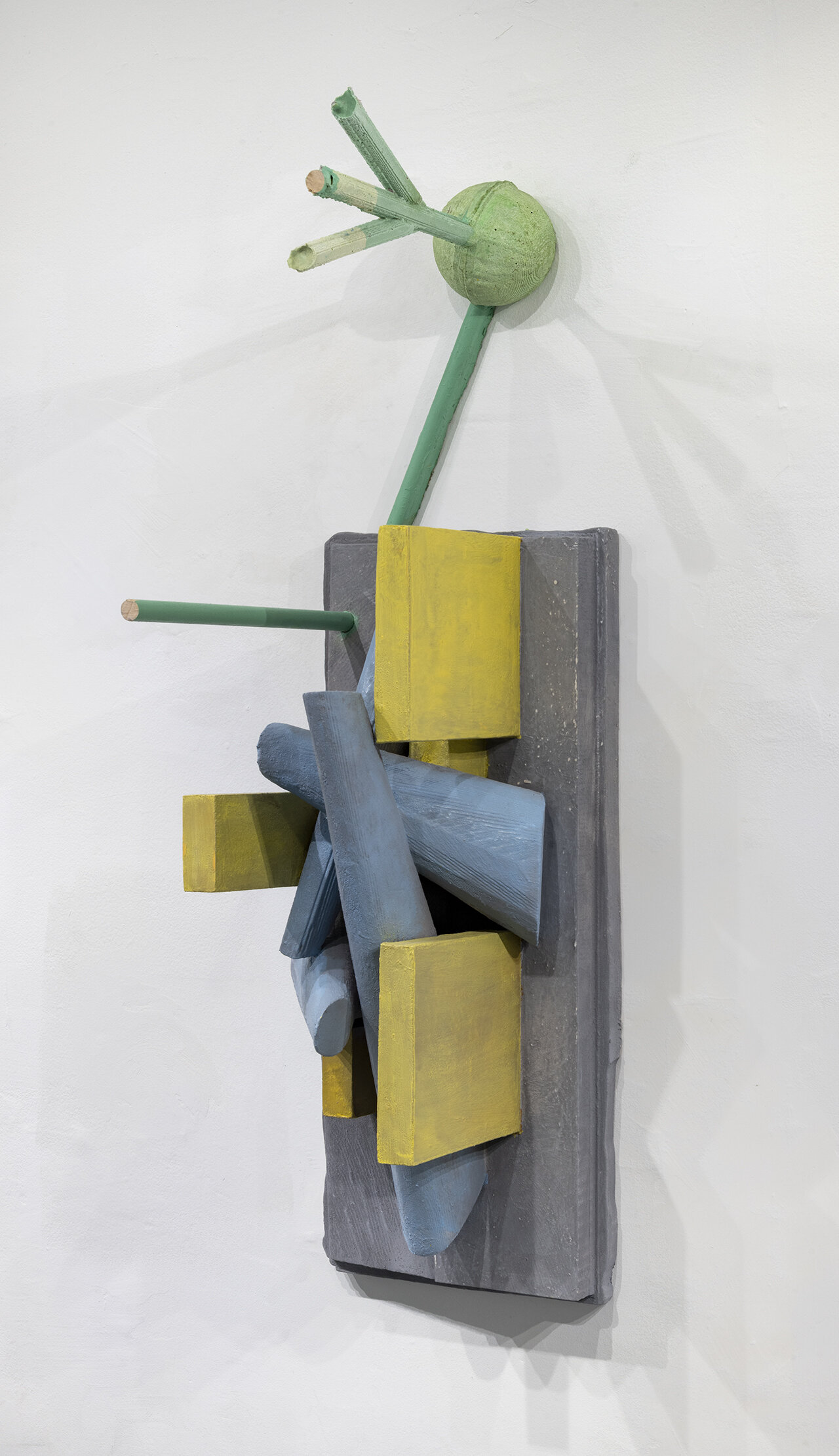 Andrew Ross  Predetermined Conical Scatter, 2019 eps foam, aqua resin, wood dowel, acrylic paint, pigment 36 x 11 x 13 inches
