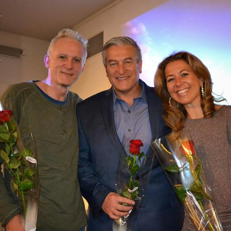 """Wisdom from North"" Oslo, Norway, Scandinavia. - Left to Right; Jon Schau (Renown Scandinavian Comedian and Near-Death Experiencer), Jeffery C. Olsen, Jannecke Oinaes (Wisdom from North Host and Actress/Singer)."