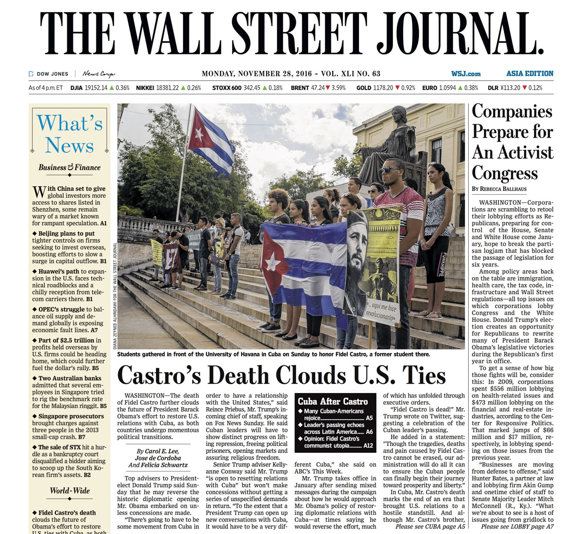 Castro's death clouds U.S. ties | The Wall Street Journal, Asia edition, front page A1, Nov 28, 2016