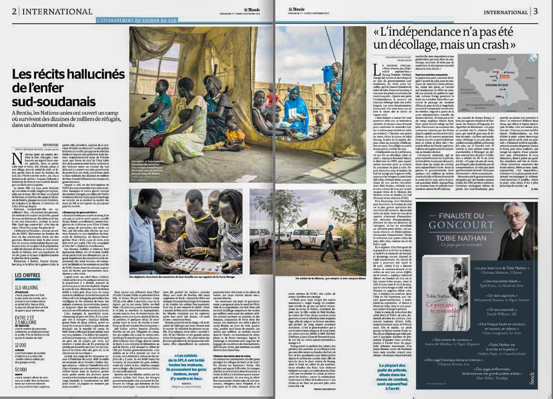 Les récits hallucinés de l'enfer sud-soudanais  (The hellish accounts of South Sudan) | Le Monde, page 2-3, Nov 1, 2015