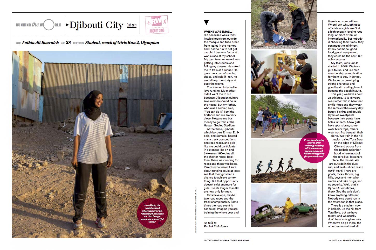 CLICK on title below to link to online version     Running the World: Djibouti  | Runner's World, pg 90-92, Aug 2016