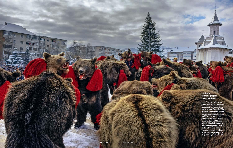 Romania: Bären gegen böse Geister  (Romania: Bears against evil spirits) | Geo Germany, pages 22-23, Dec 2015