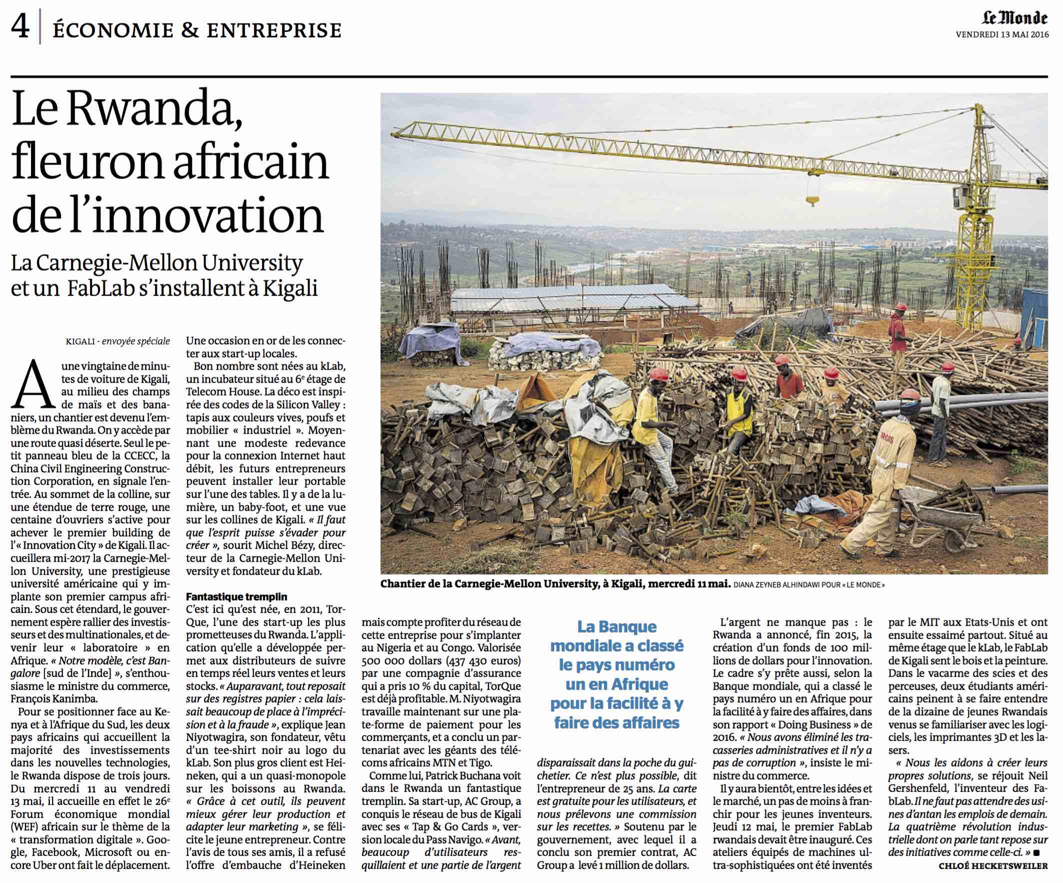 Le Rwanda: fleuron africaine de l'innovation   (Rwanda: the source of african innovation)  | Le Monde, Eco & Enterprise, page 4, 13 May, 2016