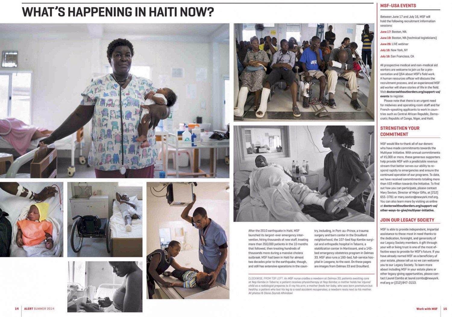 What's happening in Haiti now | Doctors Without Borders / Medicins Sans Frontieres, Jun 2014, pages 14-15