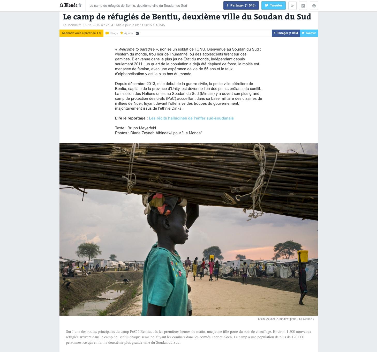 CLICK on title below to link to full article with photo essay     Le camp de réfugiés de Bentiu, deuxième ville du Soudan du Sud  (The refugee camp of Bentiu, South Sudan's second largest city) | LeMonde.fr Photo, Nov 2, 2015