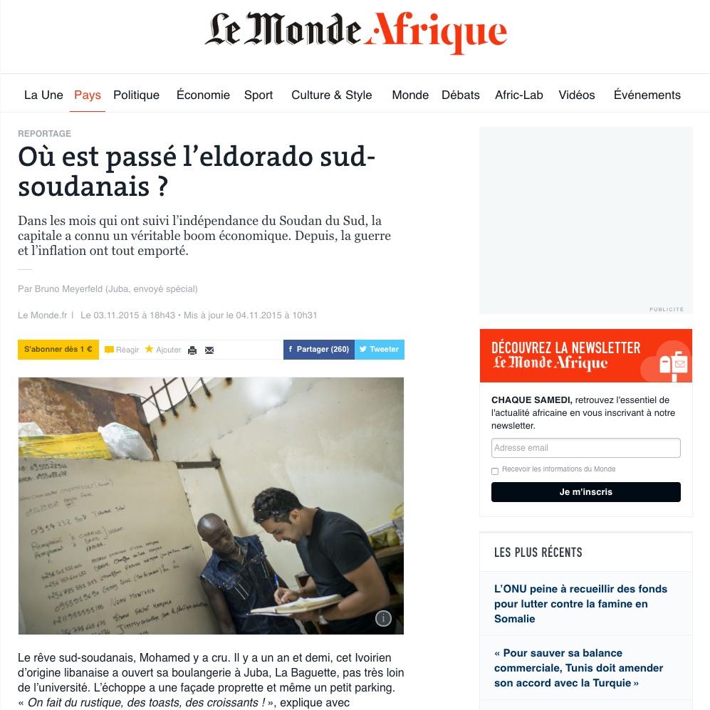 CLICK on title below to link to full article     Où est passé l'eldorado sud-soudanais ?  (What happened to the South Sudanese el dorado?) | Le Monde Afrique, Nov 3, 2015