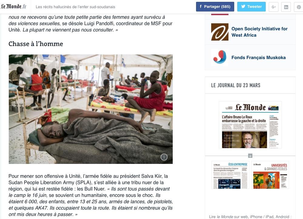 CLICK on title below to link to full article     Les récits hallucinés de l'enfer sud-soudanais  (The hellish accounts of South Sudan) | LeMonde.fr, Oct 31, 2015