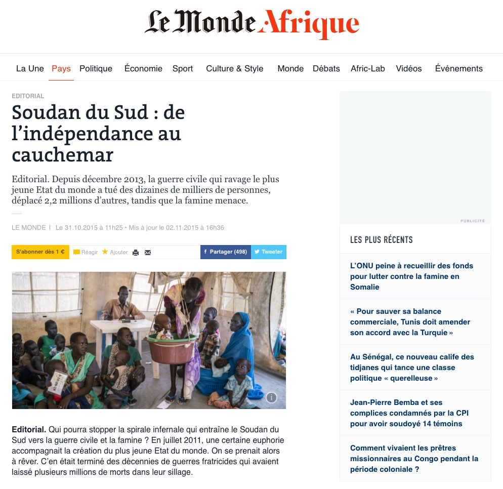 CLICK on title below to link to full article     Soudan du Sud : de l'indépendance au cauchemar   (South Sudan : from independence to nightmare)  | LeMonde.fr, Oct 31, 2015