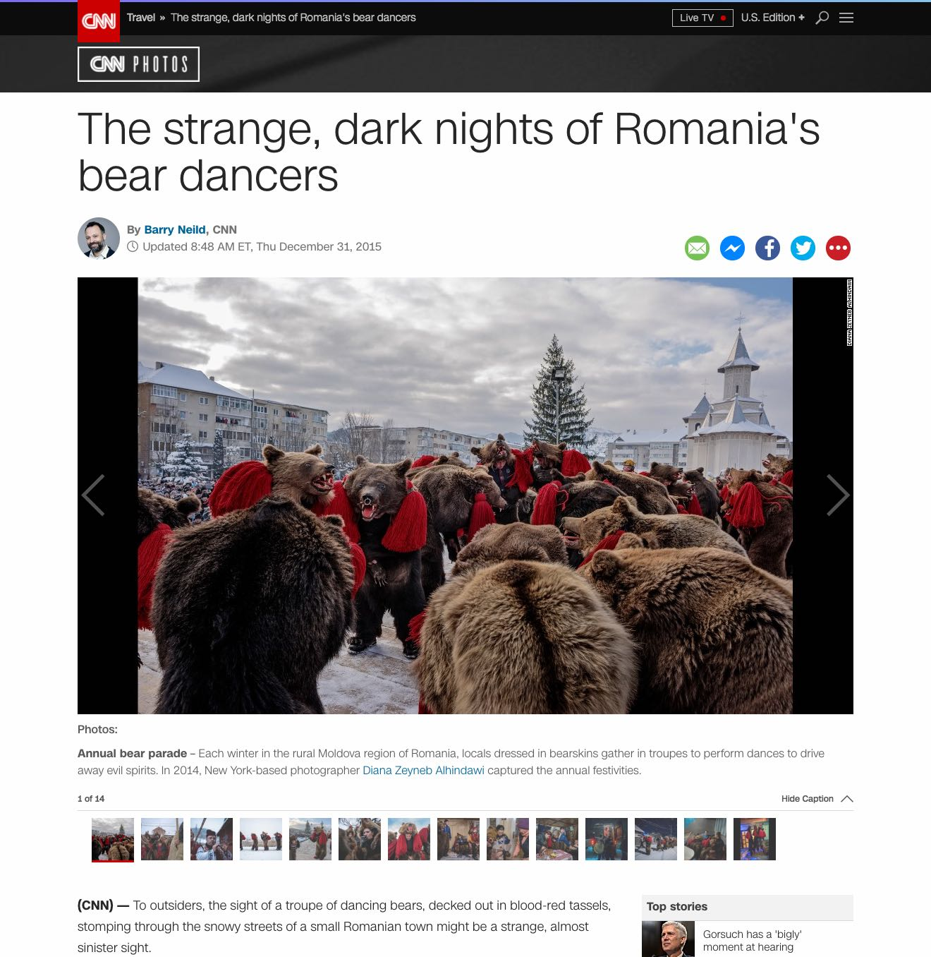 CLICK on title below to link to full article with slideshow     The strange, dark nights of Romania's bear dancers  | CNN.com, Nov 2, 2015